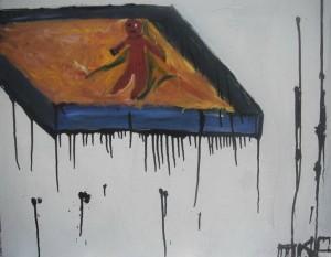 """Тимофей Разинков 1997 г.р. """"Песочница улетела"""", 2009, оргалит, масло."""