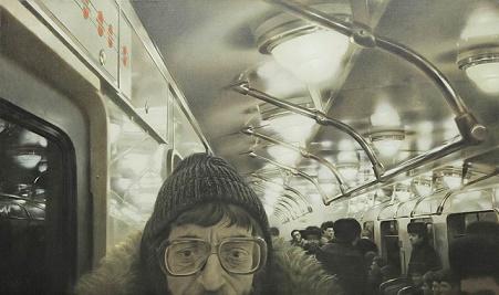 """Семён Файбисович. Поэт Лев Рубинштейн. 1987. Из цикла """"Московский метрополитен"""""""