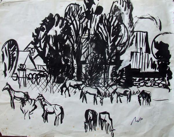 «Пейзаж с лошадьми». Бумага, тушь.