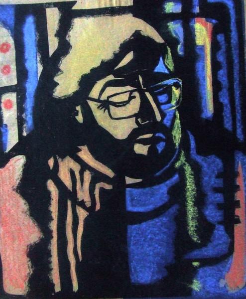 «Любитель джаза». 1987. Гравюра на картоне. 60х50