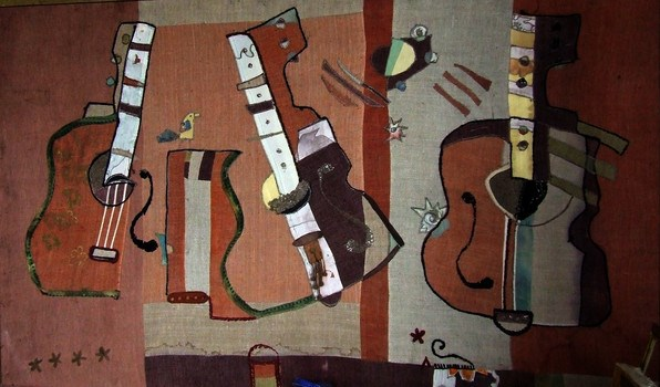«Гитары». Апликация. Холст и шёлк. 75х150