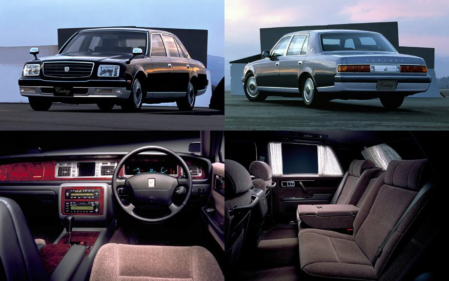 «Второй» Century — первый и единственный японский легковой автомобиль с передним расположением двигателя, задним приводом и мотором V12. Интересен также выбор обивки — шерстяная ткань. Связано это с тем, что она в отличие от кожи не скрипит.
