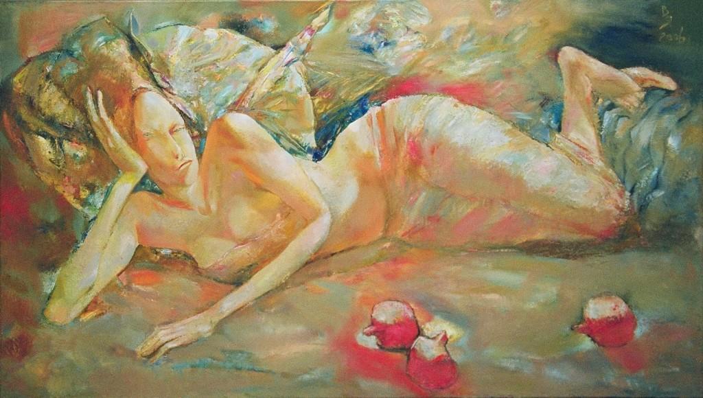 В. Яичников. Девушка с гранатами, холст, масло, 2006, 80×140