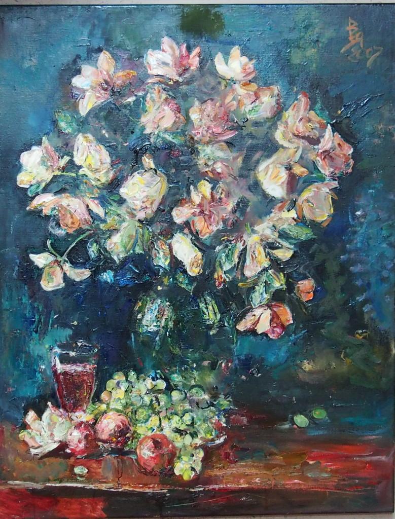 В. Яичников.  Вино, цветы и фрукты холст, масло, 2017, 100×80